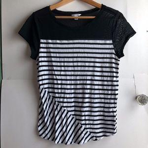 CALVIN KLEIN Black White Striped Mesh Short Sleeve